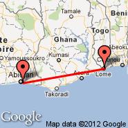 Abidjan (Felix Houphouet Boigny, ABJ) - Lome (Tokoin (Gnassingb, LFW)