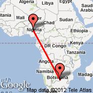 Abuja (Nnamdi Azikiwe International Airport, ABV) - Gaborone (Sir Seretse Khama International, GBE)