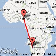 Abuja (Nnamdi Azikiwe International Airport, ABV) - Windhoek (Hosea Kutako International, WDH)