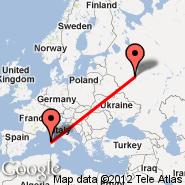 Alghero/Sardinia (Fertilia, AHO) - Moscow (Metropolitan Area, MOW)