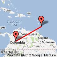 Bogota (Eldorado International, BOG) - Barbados (Grantley Adams International, BGI)