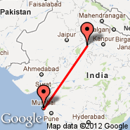 Bombay/Mumbai (Chhatrapati Shivaji International, BOM) - Gwalior (GWL)