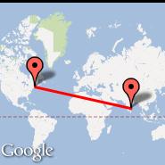 Boston (Logan International, BOS) - Chennai (Madras International, MAA)