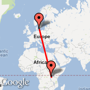 Kopenhagen (Kastrup, CPH) - Kigali (Gregoire Kayibanda, KGL)