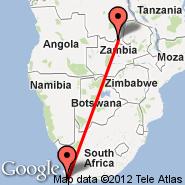 Cape Town (Cape Town International, CPT) - Lubumbashi (Luano, FBM)