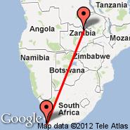 Cape Town (Cape Town International, CPT) - Kasompe (ZKP)