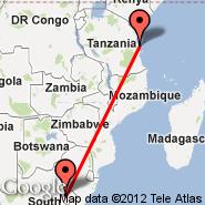Dar-es-Salaam (International, DAR) - Maseru (Moshoeshoe Intl, MSU)