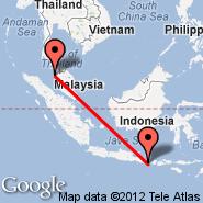 Denpasar/Bali (Ngurah Rai International, DPS) - Penang (Penang International, PEN)