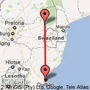 Durban (Durban International, DUR) - Nelspruit (Nelspruit International, NLP)