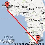 East London (ELS) - Banjul (Yundum International, BJL)