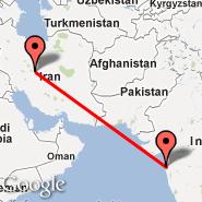 Isfahan (Isfahan International, IFN) - Bombay/Mumbai (Chhatrapati Shivaji International, BOM)