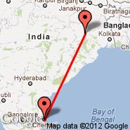 Ranchi (Birsa Munda International, IXR) - Chennai (Madras International, MAA)
