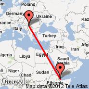 Djibouti (Ambouli, JIB) - Beograd (Nikola Tesla, BEG)