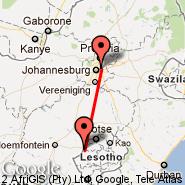 Johannesburg (Oliver Reginald Tambo International, JNB) - Maseru (Moshoeshoe Intl, MSU)