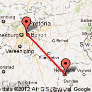 Johannesburg (Oliver Reginald Tambo International, JNB) - Newcastle (NCS)