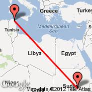 Khartoum (Civil, KRT) - Tunis (Carthage, TUN)