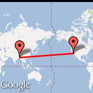 Los Angeles (Los Angeles International, LAX) - Dhaka (Zia International, DAC)