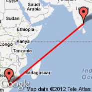 Chennai/Madras (Madras International, MAA) - Manama (Off Line Point, WGF)