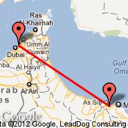Muskat (Seeb, MCT) - Sharjah (Sharjah International Airport, SHJ)