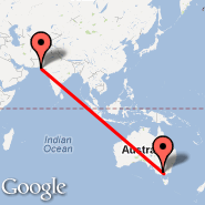 Melbourne (Tullamarine, MEL) - Karachi (Quaid-e-azam Intl, KHI)