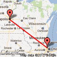 Minneapolis (Minneapolis - St. Paul Intl, MSP) - Chicago (O'Hare International Airport, ORD)