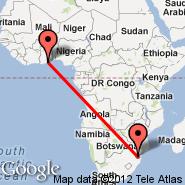 Manzini (Matsapha Intl, MTS) - Accra (Kotoka, ACC)