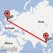 Oslo (Oslo Airport, Gardermoen, OSL) - Hanoi (Noibai International, HAN)