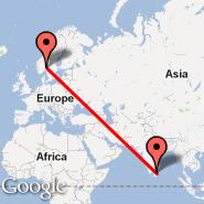 Oslo (Oslo Airport, Gardermoen, OSL) - Trincomalee (China Bay, TRR)