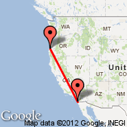 North Bend (Southwest Oregon Regional Airport, OTH) - San Diego (San Diego International Airport, SAN)