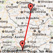 Pardubice (PED) - Ljubljana (Brnik, LJU)