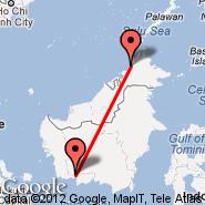 Pangkalan Bun (Pangkalanbuun, PKN) - Kota Kinabalu (Kota-Kinabalu International Airport, BKI)