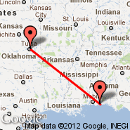 Pensacola (Regional, PNS) - Tulsa (Tulsa International, TUL)