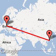 Praga (Prague - Ruzyne International, PRG) - Guangzhou/Kanton (New Baiyun, CAN)