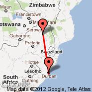 Polokwane (Polokwane International Airport, PTG) - Durban (Durban International, DUR)
