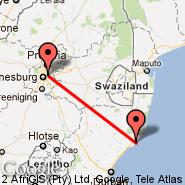 Richards Bay (RCB) - Johannesburg (Oliver Reginald Tambo International, JNB)