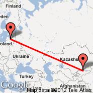 Riga (Riga International, RIX) - Biškek (Manas, FRU)