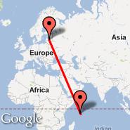 Riga (Riga International, RIX) - Mahe (Seychelles International Airport, SEZ)