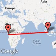 Singapur (Changi, SIN) - Pointe-Noire (Pointe Noire, PNR)