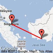 Singapur (Changi, SIN) - Sampit (SMQ)