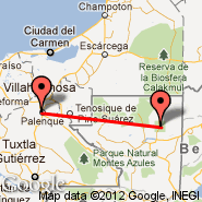 Tikal (El Peten, TKM) - Palenque (Palenque International Airport, PQM)