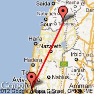 Tel Aviv (Ben Gurion Intl, TLV) - Kiryat Shmona (KSW)