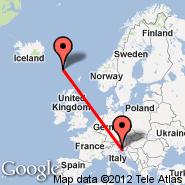 Trst (Ronchi Dei Legionari, TRS) - Faroe Islands (Vagar, FAE)