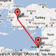 Adana (Adana-Incirlik Airbase, UAB) - Tel Aviv (Ben Gurion Intl, TLV)