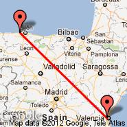 Valencia (Manises, VLC) - Oviedo/Asturias (Asturias, OVD)
