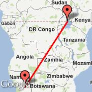 Windhoek (Hosea Kutako International, WDH) - Entebbe (Entebbe International Airport, EBB)