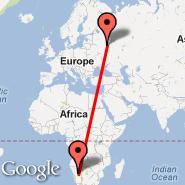 Windhoek (Hosea Kutako International, WDH) - Moscow (Metropolitan Area, MOW)