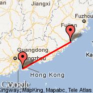 Xiamen (Gaoqi International Airport, XMN) - Hong Kong (Hong Kong International, HKG)