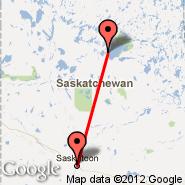 La Ronge (Barber Field, YVC) - Saskatoon (J.G. Diefenbaker International Airport, YXE)