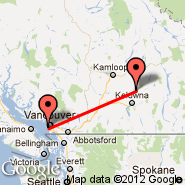 Vernon (Vernon Regional Airport, YVE) - Vancouver (Vancouver Intl, YVR)